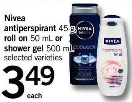 Nivea Antiperspirant - 45 G Roll On - 50 Ml Or Shower Gel - 500 Ml