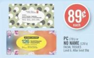 PC (78's) or No Name (126's) Facial Tissues