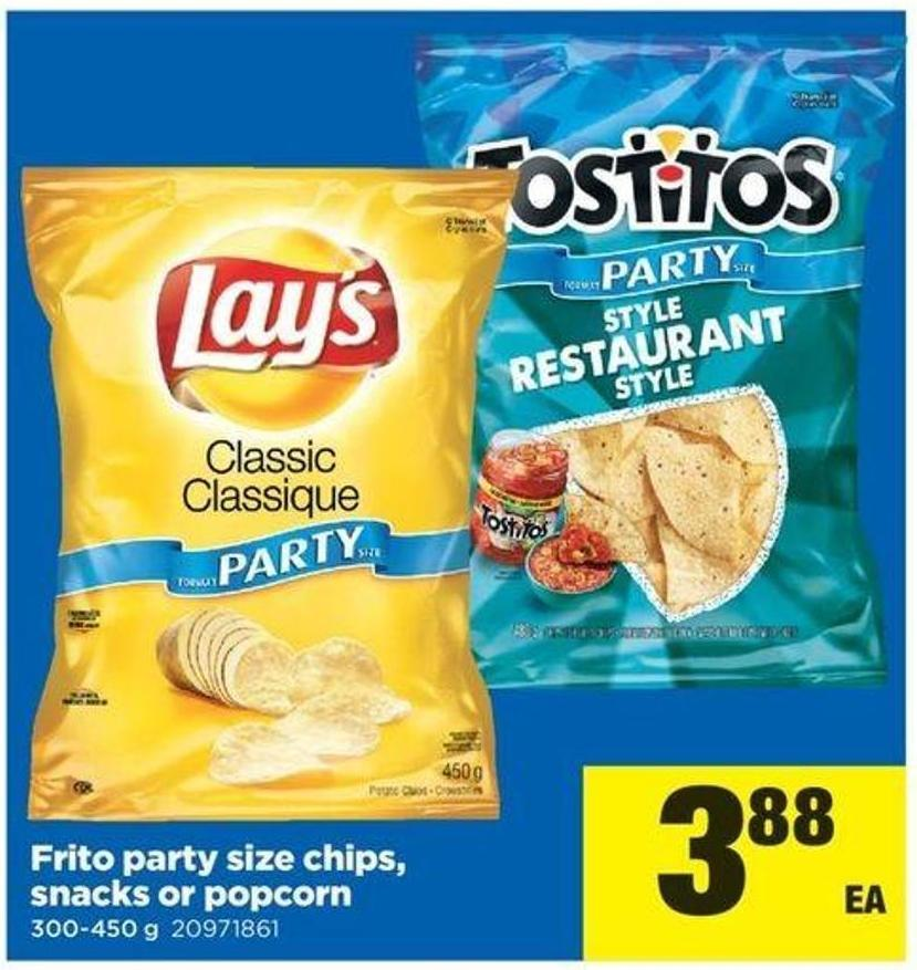 Frito Party Size Chips - Snacks Or Popcorn - 300-450 G