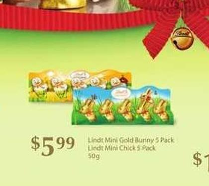 Lindt Mini Gold Bunny - 5 Pack Lindt Mini Chick - 5 Pack