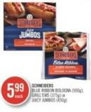 Schneiders Blue Ribbon Bologna (500g) - Grill'ems (375g) or Juicy Jumbos (450g