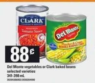 Del Monte Vegetables Or Clark Baked Beans - 341-398 mL