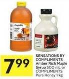 Sensations By Compliments Amber Rich Maple Syrup 500 mL or Compliments Pure Honey 1 Kg