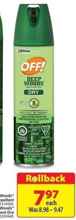 Off! Deep Woods Insect Repellent Dry