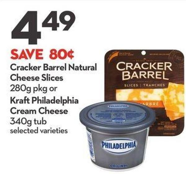 Cracker Barrel Natural Cheese Slices 280g Pkg or Kraftphiladelphia Cream Cheese 340g Tub