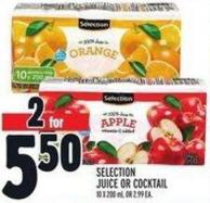 Selection Juice Or Cocktail 10 X 200 ml - Or 2.99 Ea.