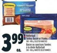 Butterball Turkey Bacon or Franks