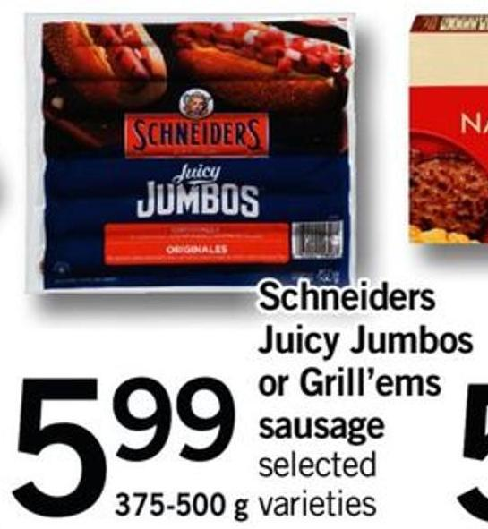 Schneiders Juicy Jumbos Or Grill'ems Sausage - 375-500 G