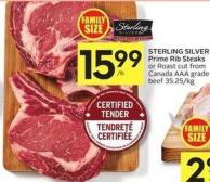 Sterling Silver Prime Rib Steaks or Roast Cut From Canada Aaa Grade Beef 35.25/kg