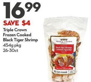 Triple Crown Frozen Cooked Black Tiger Shrimp