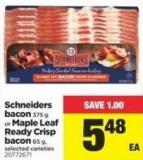 Schneiders Bacon - 375 G Or Maple Leaf Ready Crisp Bacon - 65 G