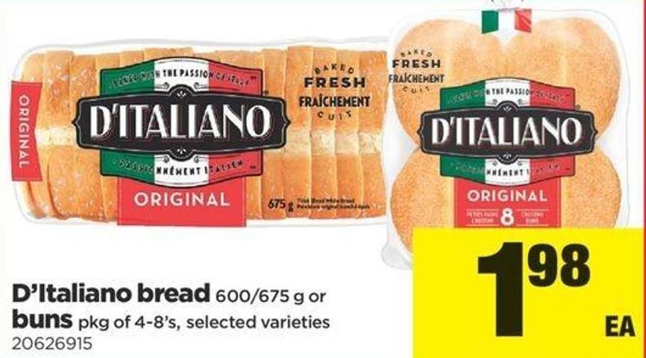 D'italiano Bread 600/675 G Or Buns Pkg Of 4-8's