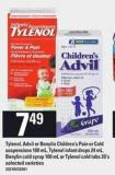 Tylenol - Advil Or Benylin Children's Pain Or Cold Suspensions - 100 Ml - Tylenol Infant Drops - 24 Ml - Benylin Cold Syrup - 100 Ml Or Tylenol Cold Tabs - 20's