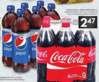 Coca-cola or Pepsi Soft Drinks or Aquafina Water 6x710 mL or Nestlé Pure Life Sparkling Water 8x355 mL