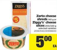 Zerto Cheese Shreds - 140 G Or Ziggy's Cheese Slices - 200/220 G