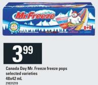Canada Day Mr. Freeze Freeze Pops - 48x42 mL
