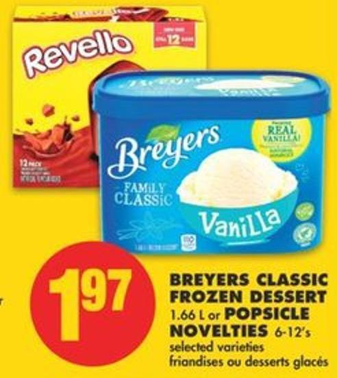Breyers Classic Frozen Dessert 1.66 L or Popsicle Novelties 6-12's