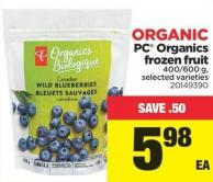 PC Organics Frozen Fruit - 400/600 g