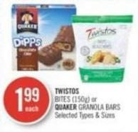 Twistos Bites (150g) or Quaker Granola Bars