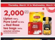 Lipton - 100's - Pure Leaf - 12-14's Or Red Rose Tea Bags - 144's