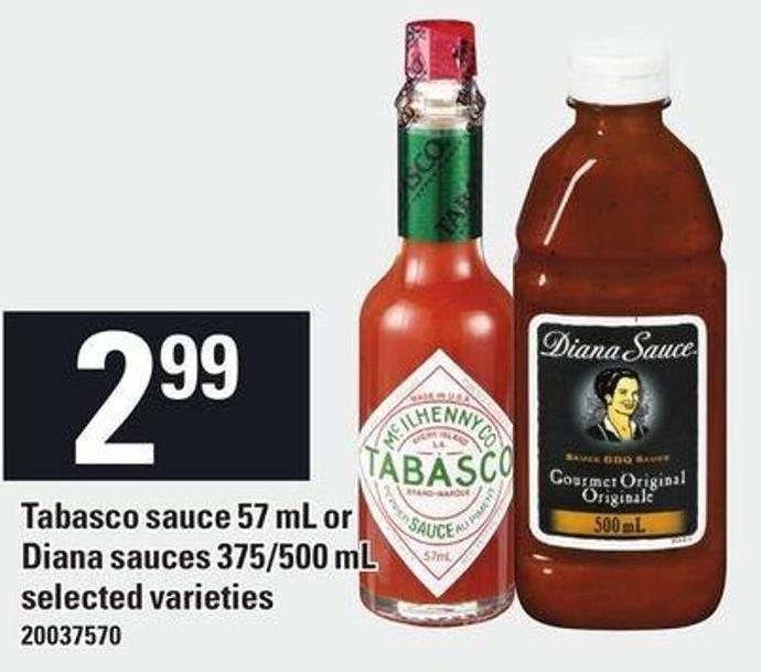Tabasco Sauce 57 Ml Or Diana Sauces 375/500 Ml