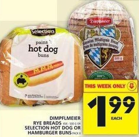 Dimpflmeier Rye Breads Or Selection Hot Dog Or Hamburger Buns