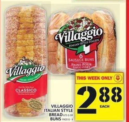 Villaggio Italian Style Bread 675 g Or Buns Pack 6 - 8