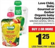 Love Child - Baby Gourmet Or Gerber Organic Baby Food Pouches - 128 mL