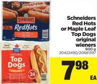 Schneiders Red Hots Or Maple Leaf Top Dogs Original Wieners - 900 g
