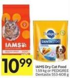 Iams Dry Cat Food 1.59 Kg or Pedigree Dentastix 553-608 g