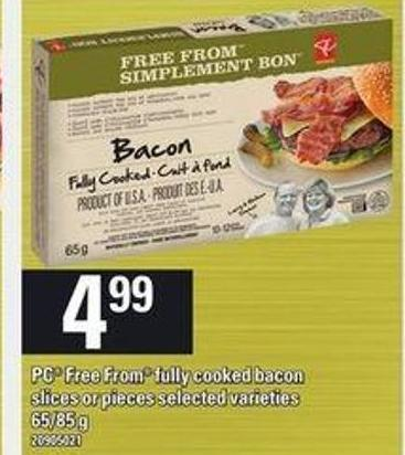PC Free From Fully Cooked Bacon - 65/85 G