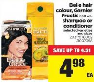 Belle Hair Colour - Garnier Fructis - 650 Ml Shampoo Or Conditioner