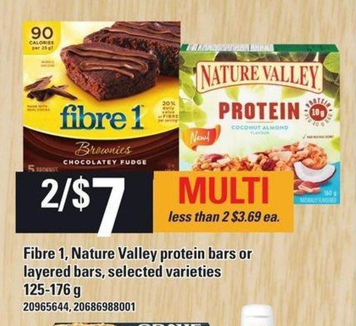 Fibre 1 - Nature Valley Protein Bars Or Layered Bars - 125-176 G