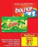 Bounce Dryer Sheets 80s or Gain Original Dryer Sheets
