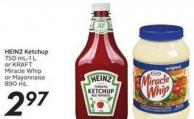 Heinz Ketchup 750 Ml-1 L or Kraft Miracle Whipor Mayonnaise 890 mL