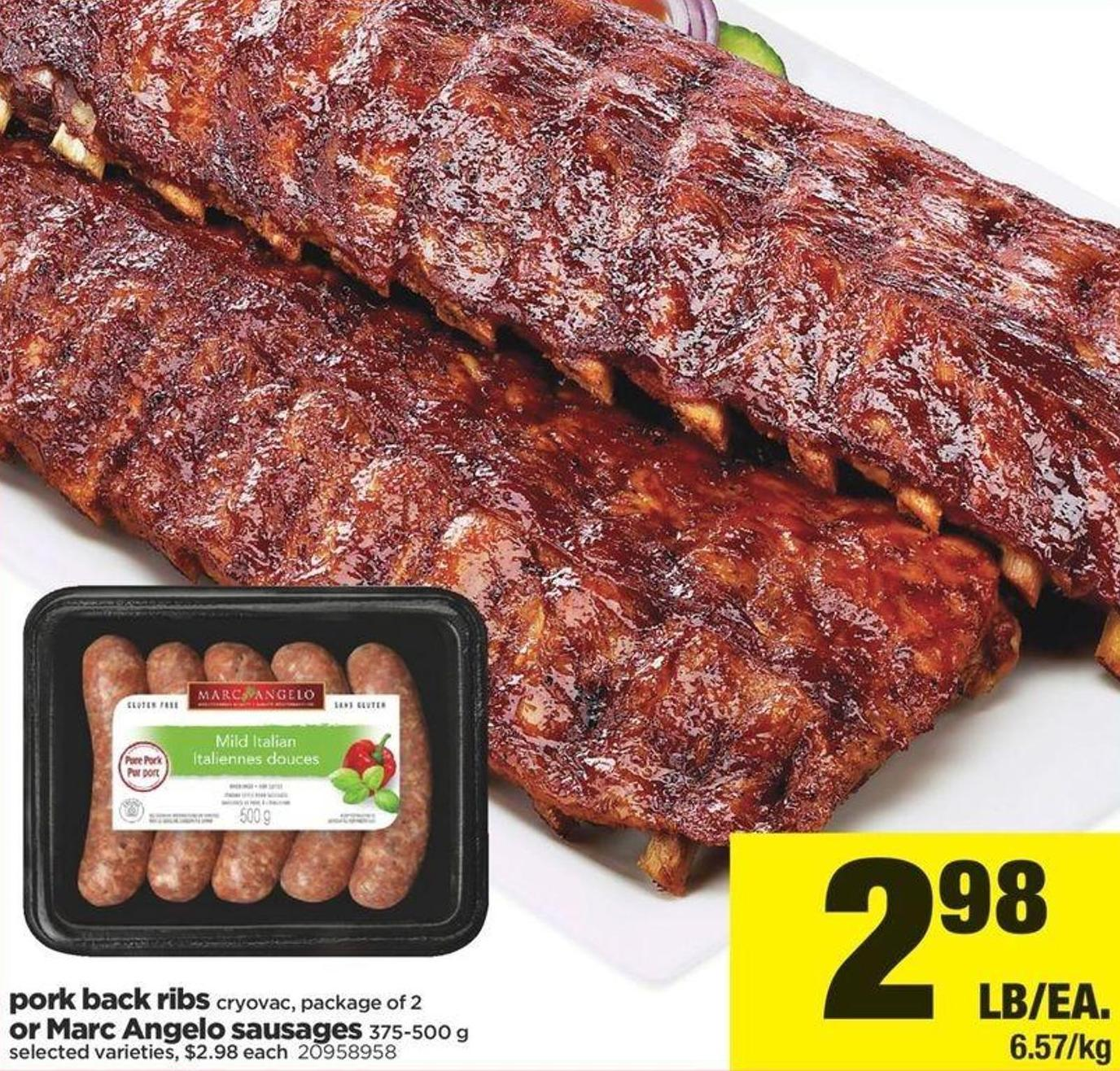 Pork Back Ribs Cryovac - Package Of 2 Or Marc Angelo Sausages 375-500 G