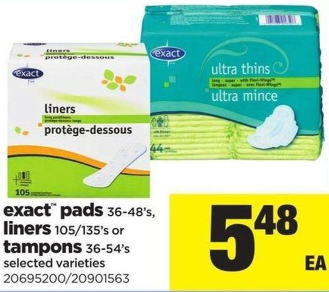 Exact Pads 36-48's - Liners 105/135's Or Tampons 36-54's