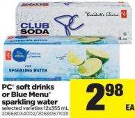 PC Soft Drinks Or Blue Menu Sparkling Water - 12x355 mL
