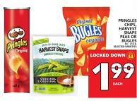 Pringles Chips - Harvest Snaps Peas Or Bugles