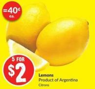 Lemons Product of Argentina