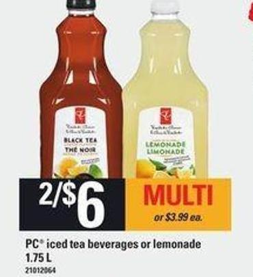 PC Iced Tea Beverages Or Lemonade - 1.75 L