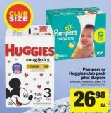 Pampers Or Huggies Club Pack Plus Diapers - Sizes 1-6