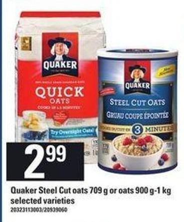 Quaker Steel Cut Oats 709 G Or Oats 900 G-1 Kg