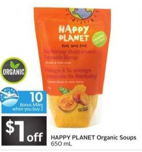 Happy Planet Organic Soups - 10 Air Miles Bonus Miles