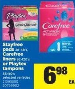 Stayfree Pads - 28-48's - Carefree Liners - 92-120's Or Playtex Tampons - 36/40's