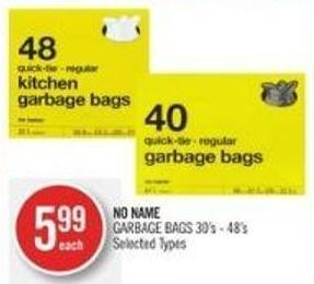 NO NAME GARBAGE BAGS 30's - 48's