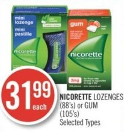 Nicorette Lozenges (88's) or GUM (105's)