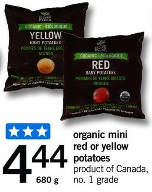 Organic Mini Red Or Yellow Potatoes - 680 G