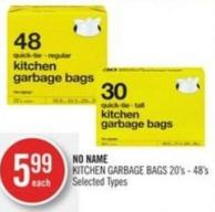 No Name Kitchen Garbage Bags 20's - 48's