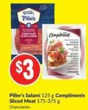 Piller's Salami 125 g Compliments Sliced Meat 175-375 g